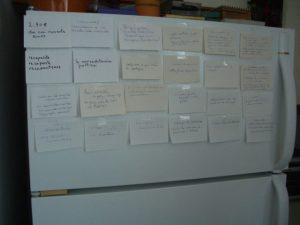 Flashcards on my refrigerator day